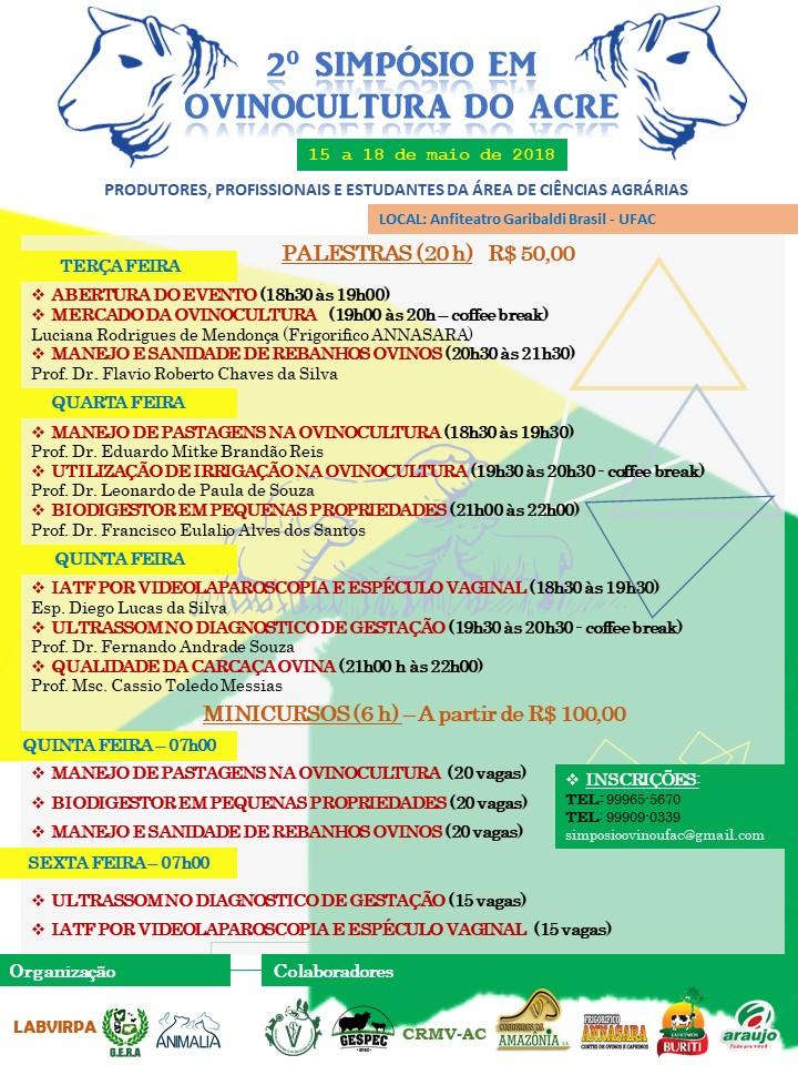 2º Simpósio em Ovinocultura do Estado do Acre - Cronograma