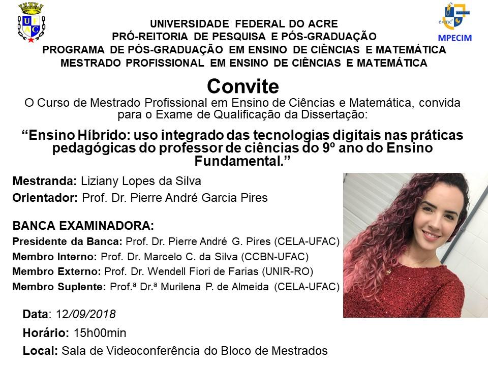 Convite Qualificação - Liziany Silva