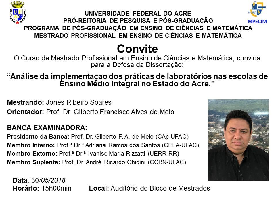 Convite Defesa - Jones Soares