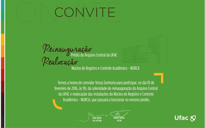 Convite - Arquivo Central e Nurca