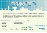 Convite - Entrega de certificados e aula inaugural do curso Pós-graduação Lato Sensu em Tecnologias da Informação e Comunicação