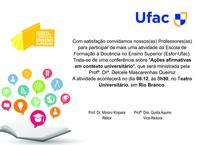 Escola de Formação à Docência no Ensino Superior – Esfor-Ufac – Convite