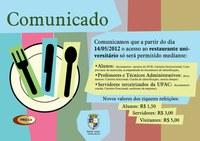 Restaurante Universitário reajusta o preço de seus tíquetes